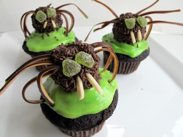 chili chocolate spider cupcakes