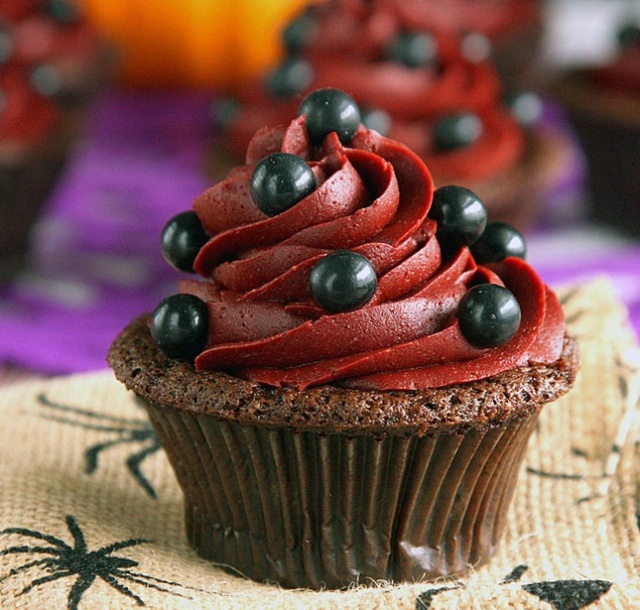 Devil's Food Cupcakes with Wicked Red Velvet Frosting