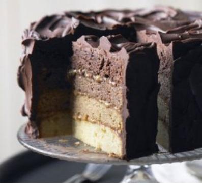 choco-caramel ombre cake BBC