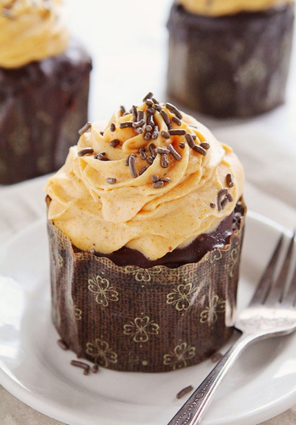 Chocolate Pumpkin Cupcakes IAB